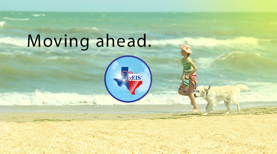 Dog and girl running on the beach. TxEIS logo.