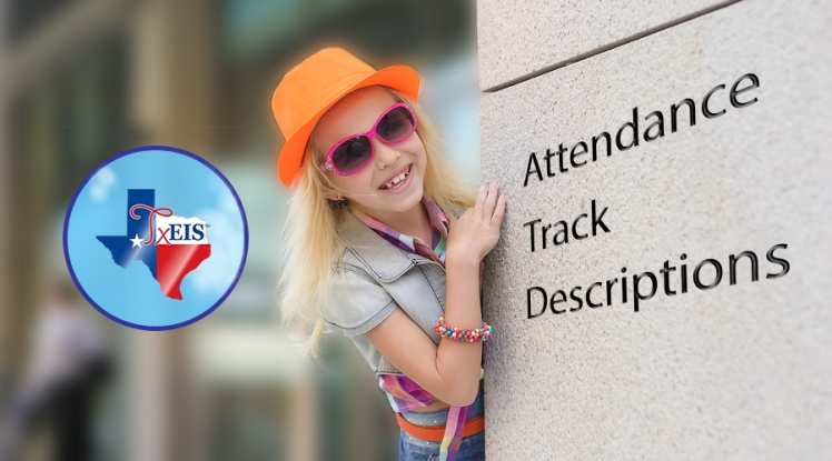 Attendance Track Descriptions. Girl looking around an office building corner. TxEIS software.